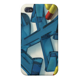 3D RX symbol with capsules Cases For iPhone 4