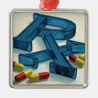 3D RX symbol with capsules Christmas Ornament