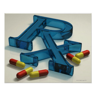 3D RX symbol with capsules Poster