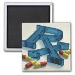 3D RX symbol with capsules Square Magnet