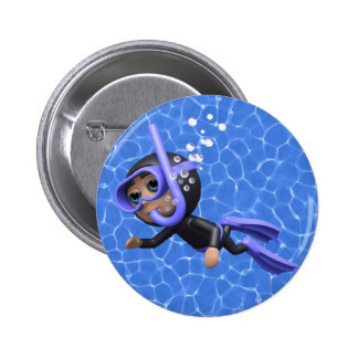 3d Scuba Diver Swimming (Any Color U Like!) 6 Cm Round Badge