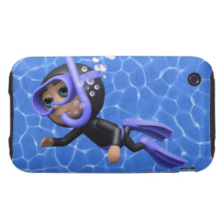 3d Scuba Diver Swimming (Any Color U Like!) Tough iPhone 3 Cover