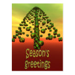 3D shining green tree Post Cards