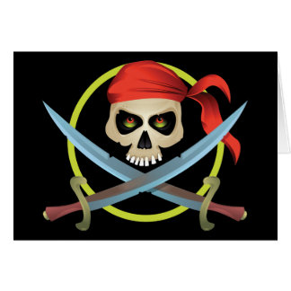 3D Skull and Crossbones Greeting Cards