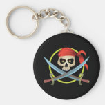 3D Skull and Crossbones Basic Round Button Key Ring