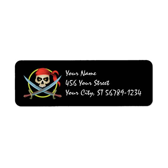 3D Skull Pirate Label Return Address Label