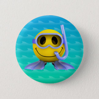 3d Smiley Scuba diver 6 Cm Round Badge