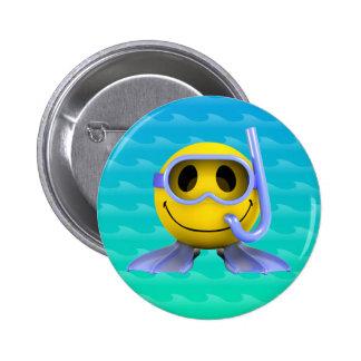 3d Smiley Scuba diver 6 Cm Round Badge