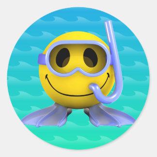 3d Smiley Scuba diver Round Sticker
