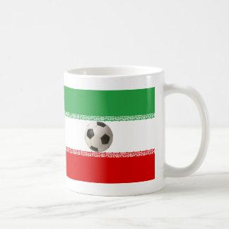 3D soccer ball with Iranian flag Basic White Mug