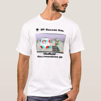 3D Soccer Girl  On TV T-Shirt