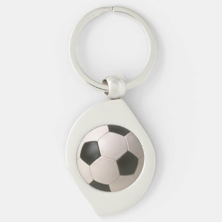 3D Soccerball Black White Football Silver-Colored Swirl Key Ring