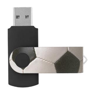 3D Soccerball Black White Football Swivel USB 2.0 Flash Drive
