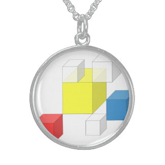 3D Square Yellow Block Silver Round Necklace