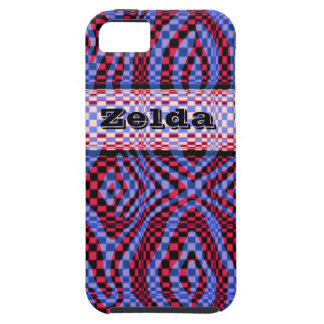 3D style red and purple crazy check iphone case iPhone 5 Case