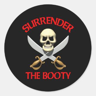 3D Surrender the Booty Round Sticker