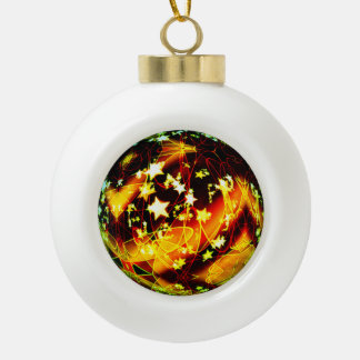 3D Swirl Of Dreams Greenleaf Ceramic Ball Christmas Ornament
