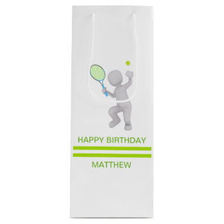 3D Tennis Player Tennis Racket Ball Personalized Wine Gift Bag