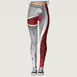 3D textured red and grey Leggings