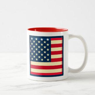3D USA flag Two-Tone Mug