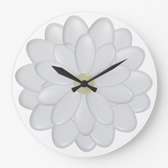3D White Daisy Flowers Large Wall Clock