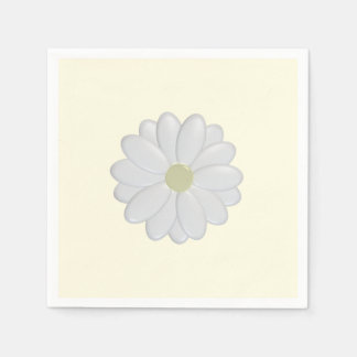 3D White Daisy on cream Paper Napkins