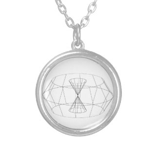 3d wireframe render object round pendant necklace