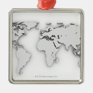 3D World map, computer generated image Christmas Ornament