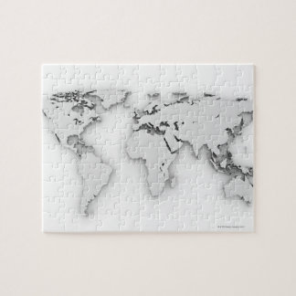 3D World map, computer generated image Jigsaw Puzzle