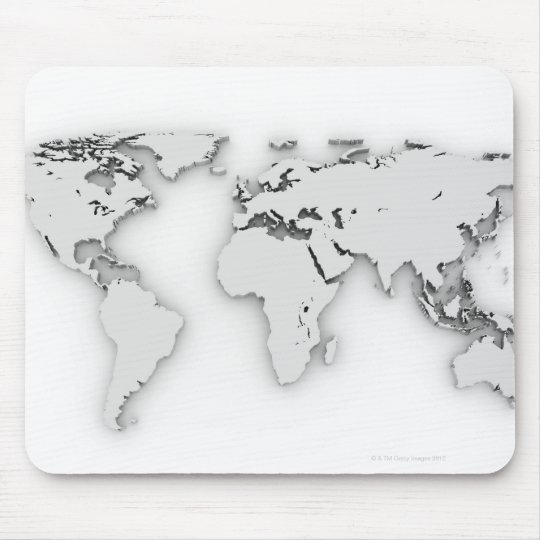3D World map, computer generated image Mouse Mat