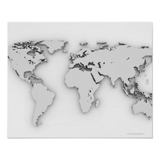 3D World map, computer generated image Poster