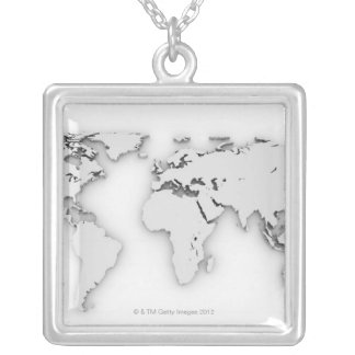3D World map, computer generated image Silver Plated Necklace