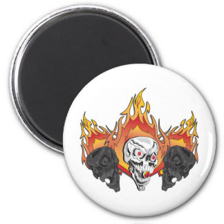 3flaming skulls copy 6 cm round magnet