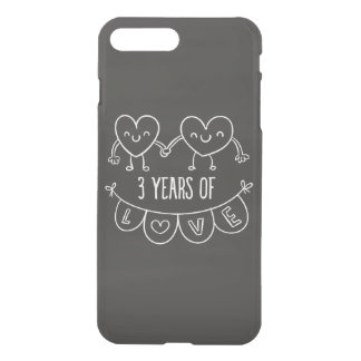 3rd Anniversary Gift Chalk Hearts iPhone 7 Plus Case