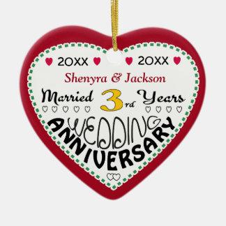 3rd Anniversary Gift Heart Shaped Christmas Christmas Ornament