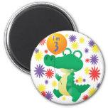 3rd Birthday Alligator Magnets