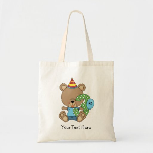 3rd Birthday Bear Boy (customizable) Canvas Bags