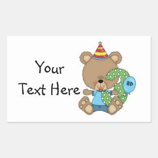 3rd Birthday Bear Boy (customizable) Rectangular Sticker