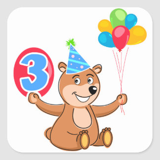 3rd Birthday Bear with Balloons Square Sticker