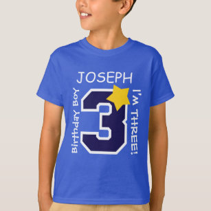 3rd Birthday Boy BLUE One Year Custom Name A02A T Shirt