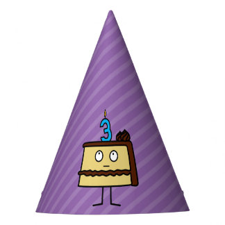 3rd Birthday Cake with Candles Party Hat