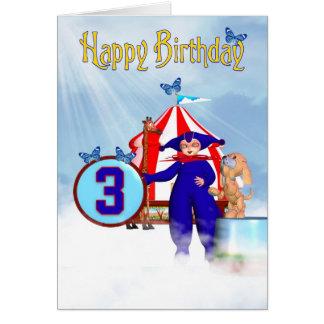 3rd Birthday Card - Cute Little Pixie Clown