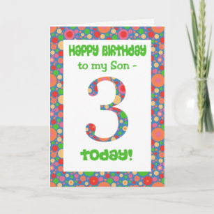 3rd Birthday Card For A Son Bright And Bubbly