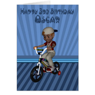 3rd birthday card for granson oscar, named card