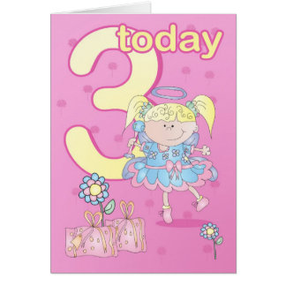 3rd birthday card pastel angel
