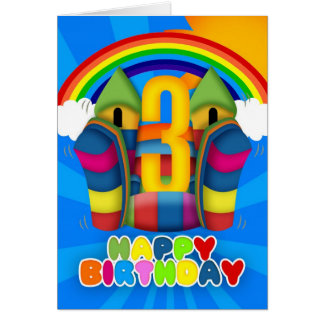 3rd Birthday Card With Bouncy Castle And Rainbow