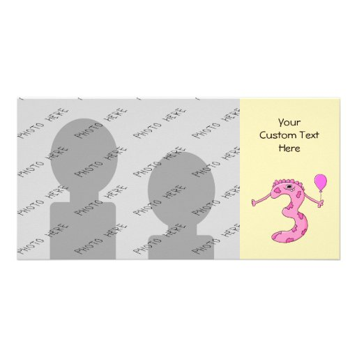 3rd Birthday Cartoon in Pink. Customized Photo Card