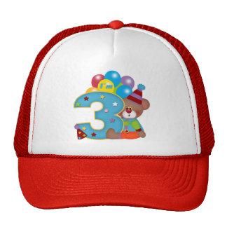 3rd Birthday Clown Bear Birthday Trucker Hats