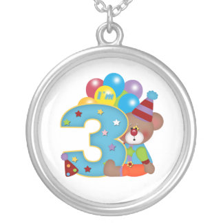 3rd Birthday Clown Bear Birthday Round Pendant Necklace