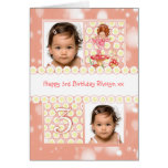 3rd birthday customisable photo greeting card